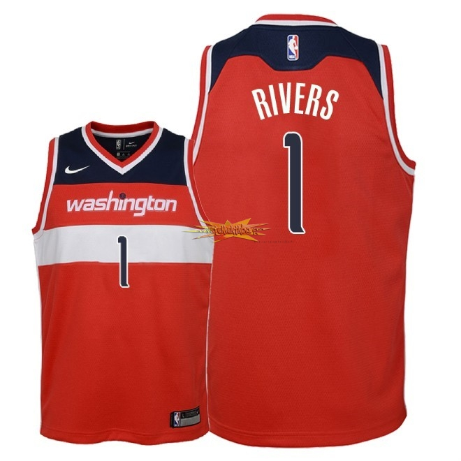 Nouveau Maillot NBA Enfant Washington Wizards NO.1 Austin Rivers Rouge Icon 2018
