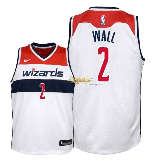Nouveau Maillot NBA Enfant Washington Wizards NO.2 John Wall Blanc Association 2018