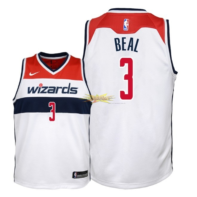 Nouveau Maillot NBA Enfant Washington Wizards NO.3 Bradley Beal Blanc Association 2018