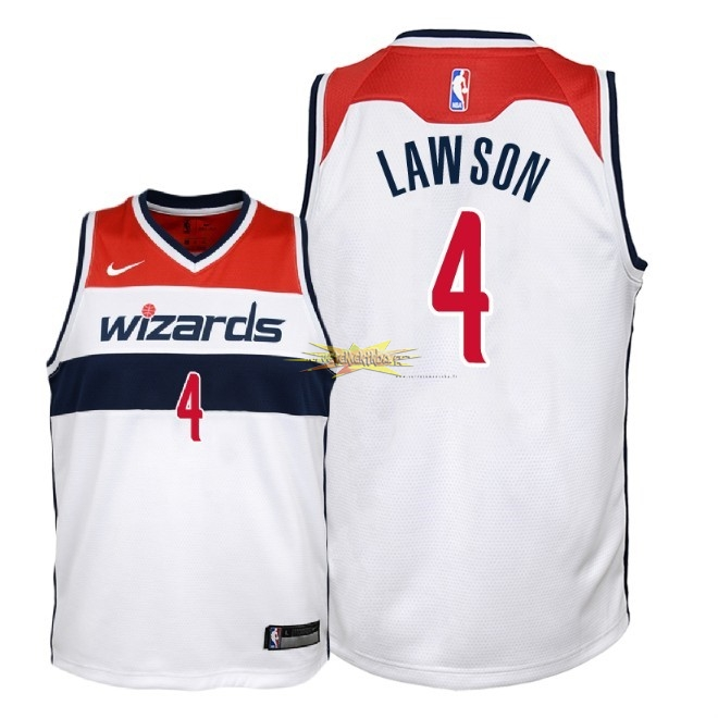 Nouveau Maillot NBA Enfant Washington Wizards NO.4 Ty Lawson Blanc Association 2018