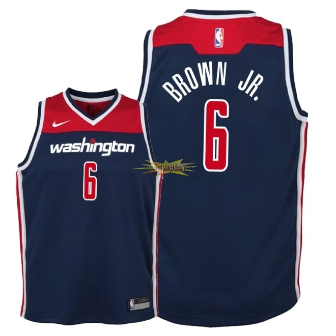 Nouveau Maillot NBA Enfant Washington Wizards NO.6 Troy Brown Jr Marine Statement 2018