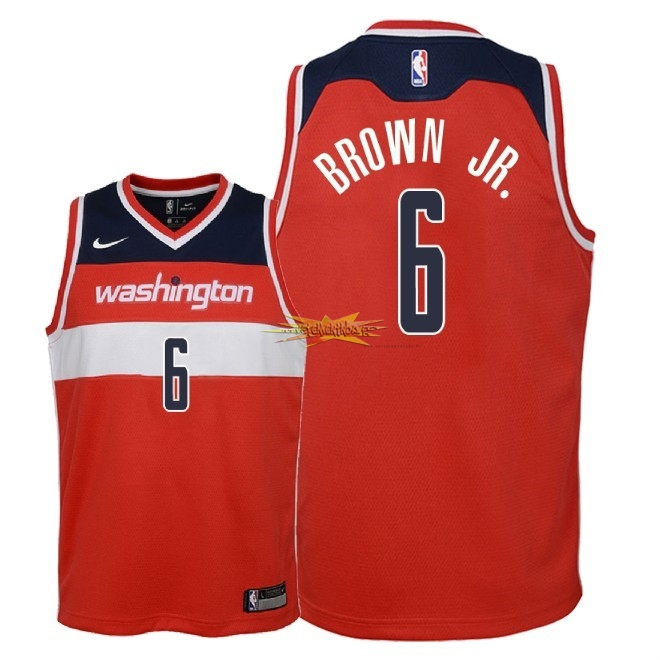 Nouveau Maillot NBA Enfant Washington Wizards NO.6 Troy Brown Jr Rouge Icon 2018