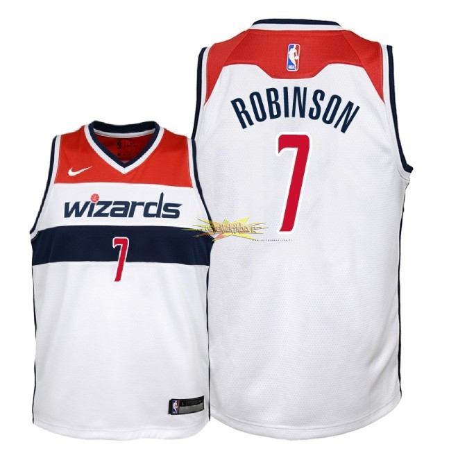 Nouveau Maillot NBA Enfant Washington Wizards NO.7 Devin Robinson Blanc Association 2018