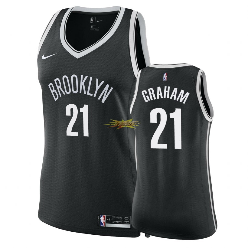 Nouveau Maillot NBA Femme Brooklyn Nets NO.21 Treveon Graham Noir Icon 2018