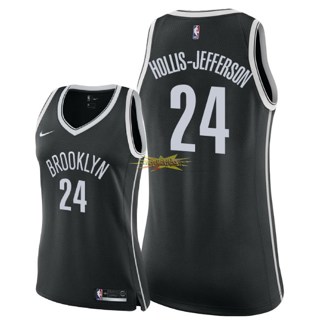 Nouveau Maillot NBA Femme Brooklyn Nets NO.24 Rondae Hollis Jefferson Noir Icon 2018