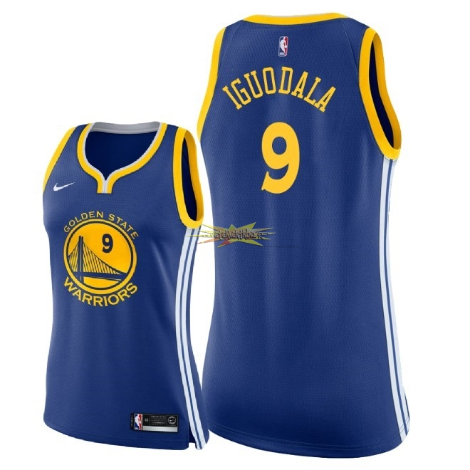 Nouveau Maillot NBA Femme Golden State Warriors NO.9 Andre Iguodala Bleu Icon 2018
