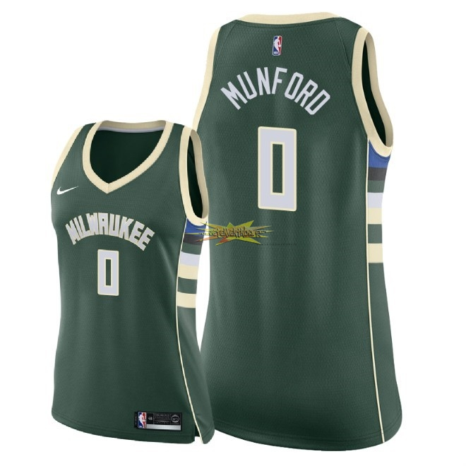 Nouveau Maillot NBA Femme Milwaukee Bucks NO.0 Xavier Munford Vert Icon 2018