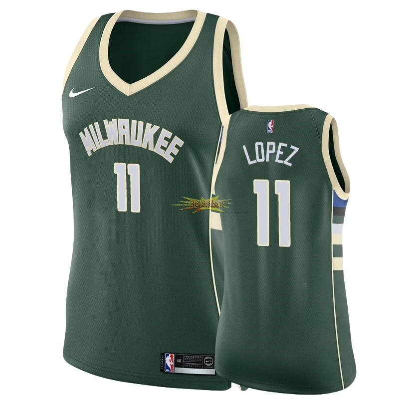 Nouveau Maillot NBA Femme Milwaukee Bucks NO.11 Brook Lopez Vert Icon 2018