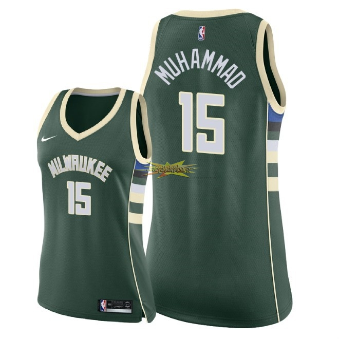 Nouveau Maillot NBA Femme Milwaukee Bucks NO.15 Shabazz Muhammad Vert Icon 2018