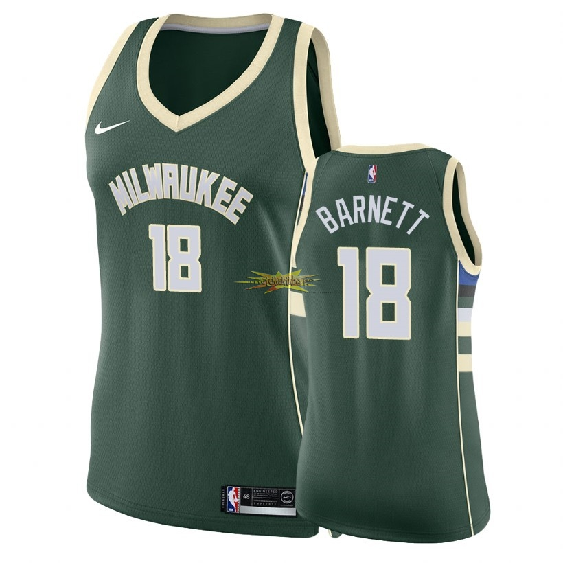Nouveau Maillot NBA Femme Milwaukee Bucks NO.18 Jordan Barnett Vert Icon 2018