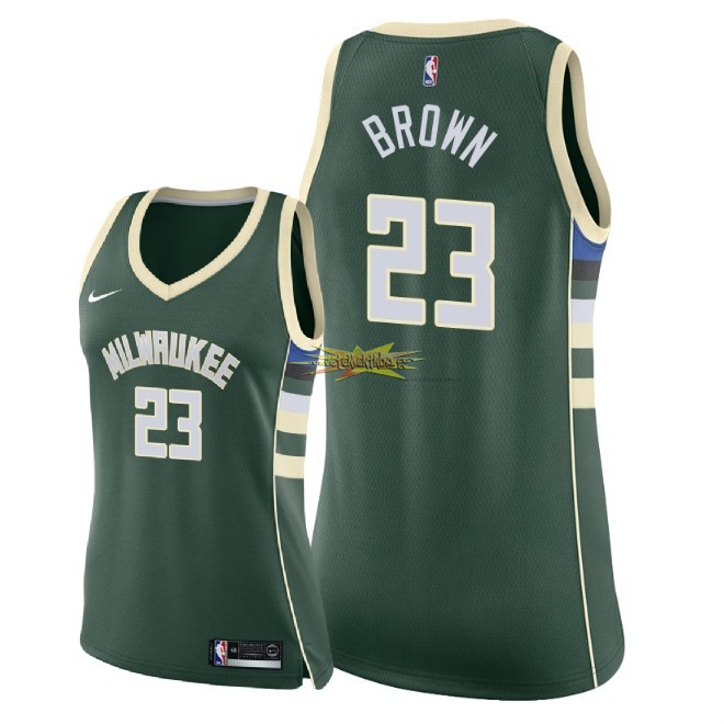 Nouveau Maillot NBA Femme Milwaukee Bucks NO.23 Sterling Brown Vert Icon 2018