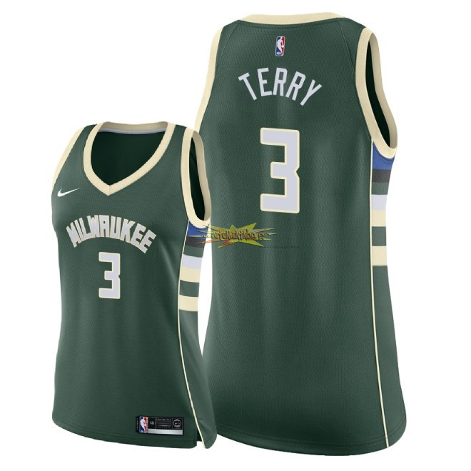 Nouveau Maillot NBA Femme Milwaukee Bucks NO.3 Jason Terry Vert Icon 2018