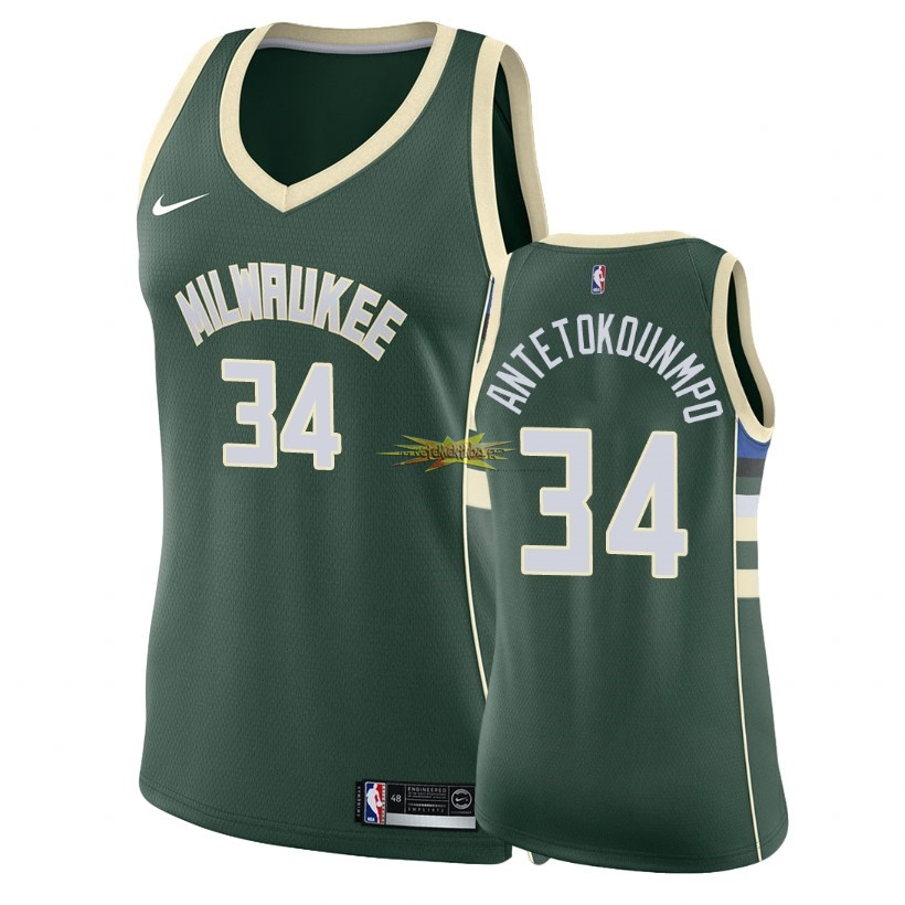 Nouveau Maillot NBA Femme Milwaukee Bucks NO.34 Giannis Antetokounmpo Vert Icon 2018