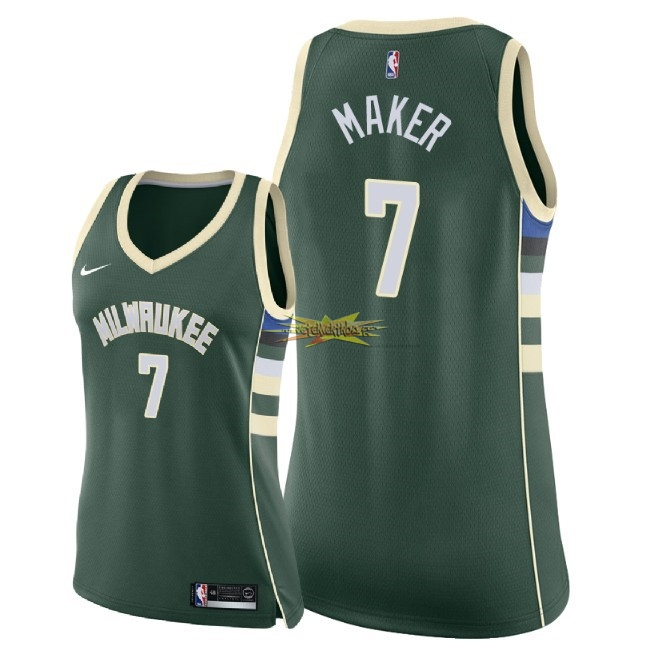 Nouveau Maillot NBA Femme Milwaukee Bucks NO.7 Thon Maker Vert Icon 2018