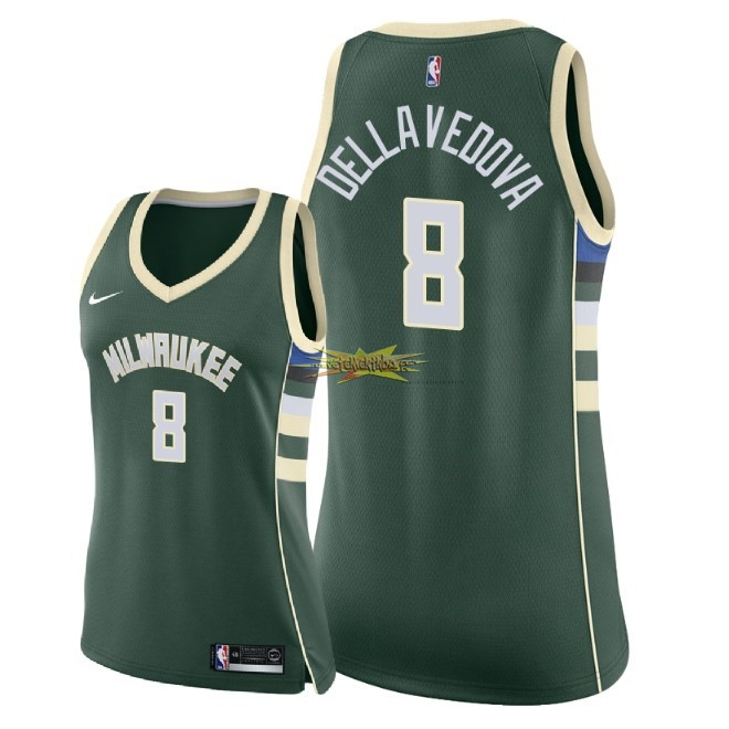 Nouveau Maillot NBA Femme Milwaukee Bucks NO.8 Matthew Dellavedova Vert Icon 2018