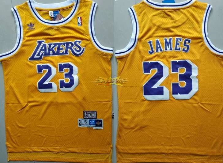 Nouveau Maillot NBA Los Angeles Lakers NO.23 Lebron James Retro Jaune