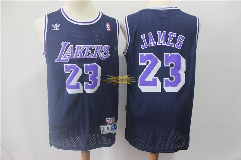 Nouveau Maillot NBA Los Angeles Lakers NO.23 Lebron James Retro Noir Pourpre