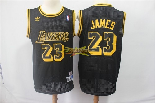 Nouveau Maillot NBA Los Angeles Lakers NO.23 Lebron James Retro Noir