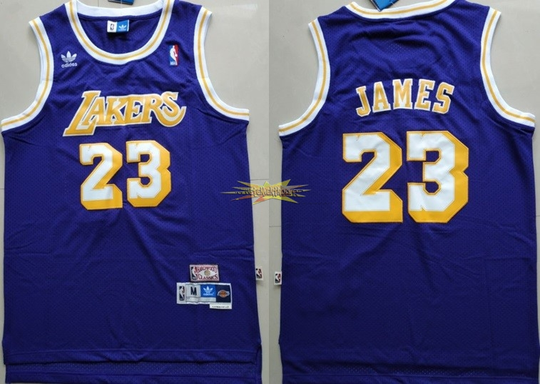 Nouveau Maillot NBA Los Angeles Lakers NO.23 Lebron James Retro Pourpre