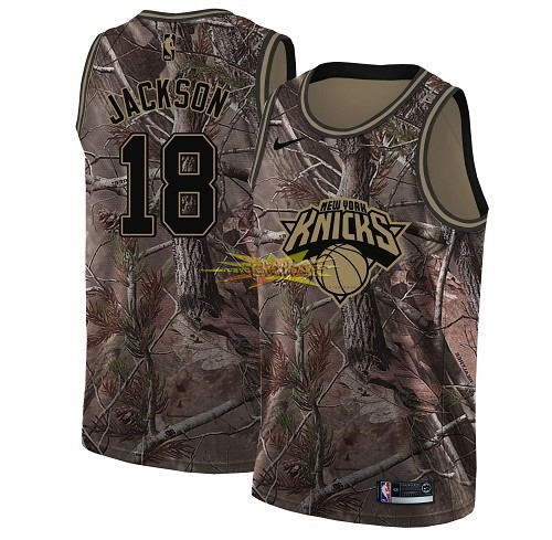 Nouveau Maillot NBA New York Knicks NO.18 Phil Jackson Camo Swingman Collection Realtree 2018