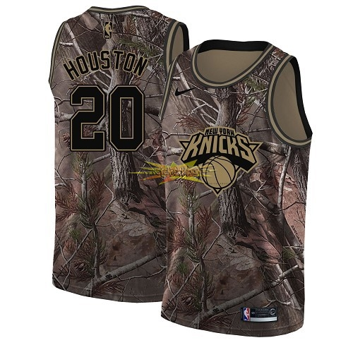 Nouveau Maillot NBA New York Knicks NO.20 Allan Houston Camo Swingman Collection Realtree 2018