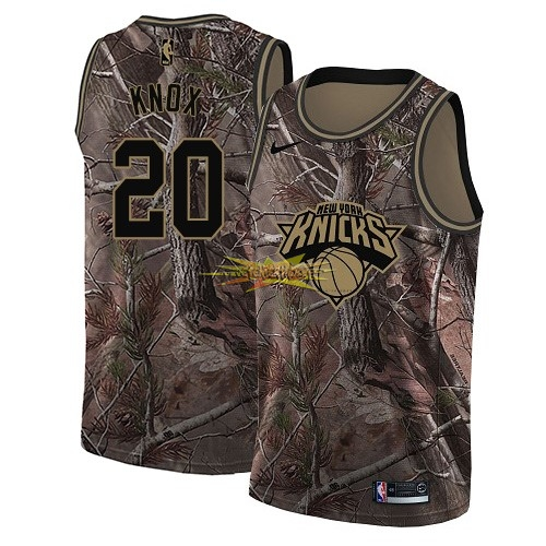 Nouveau Maillot NBA New York Knicks NO.20 Kevin Knox Camo Swingman Collection Realtree 2018