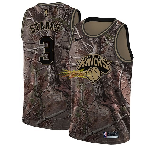 Nouveau Maillot NBA New York Knicks NO.3 John Starks Camo Swingman Collection Realtree 2018