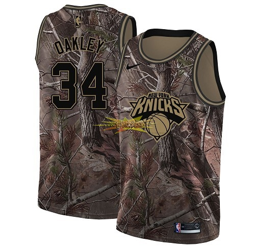 Nouveau Maillot NBA New York Knicks NO.34 Charles Oakley Camo Swingman Collection Realtree 2018