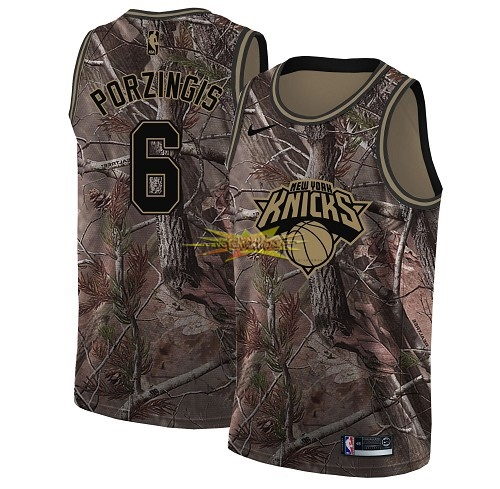 Nouveau Maillot NBA New York Knicks NO.6 Kristaps Porzingis Camo Swingman Collection Realtree 2018