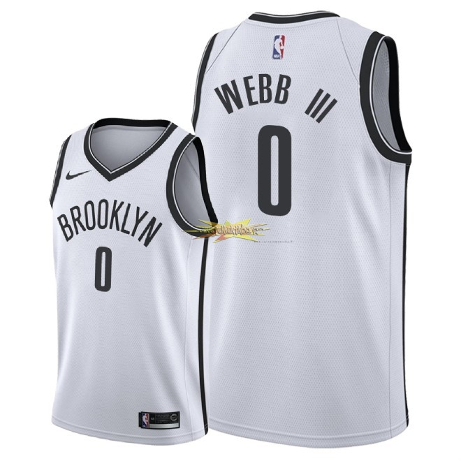 Nouveau Maillot NBA Nike Brooklyn Nets NO.0 James Webb III Blanc Association 2018