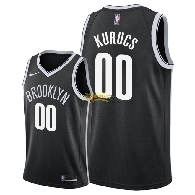 Nouveau Maillot NBA Nike Brooklyn Nets NO.0 Rodions Kurucs Noir Icon 2018