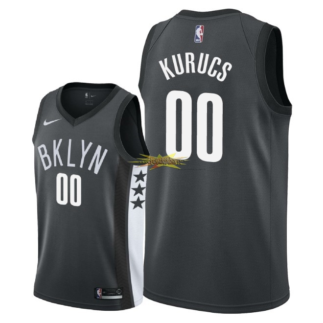 Nouveau Maillot NBA Nike Brooklyn Nets NO.0 Rodions Kurucs Noir Statement 2018