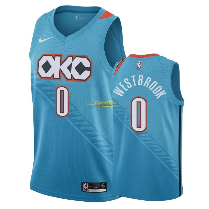 Nouveau Maillot NBA Nike Oklahoma City Thunder NO.0 Russell Westbrook Nike Turquoise Ville 2018-19