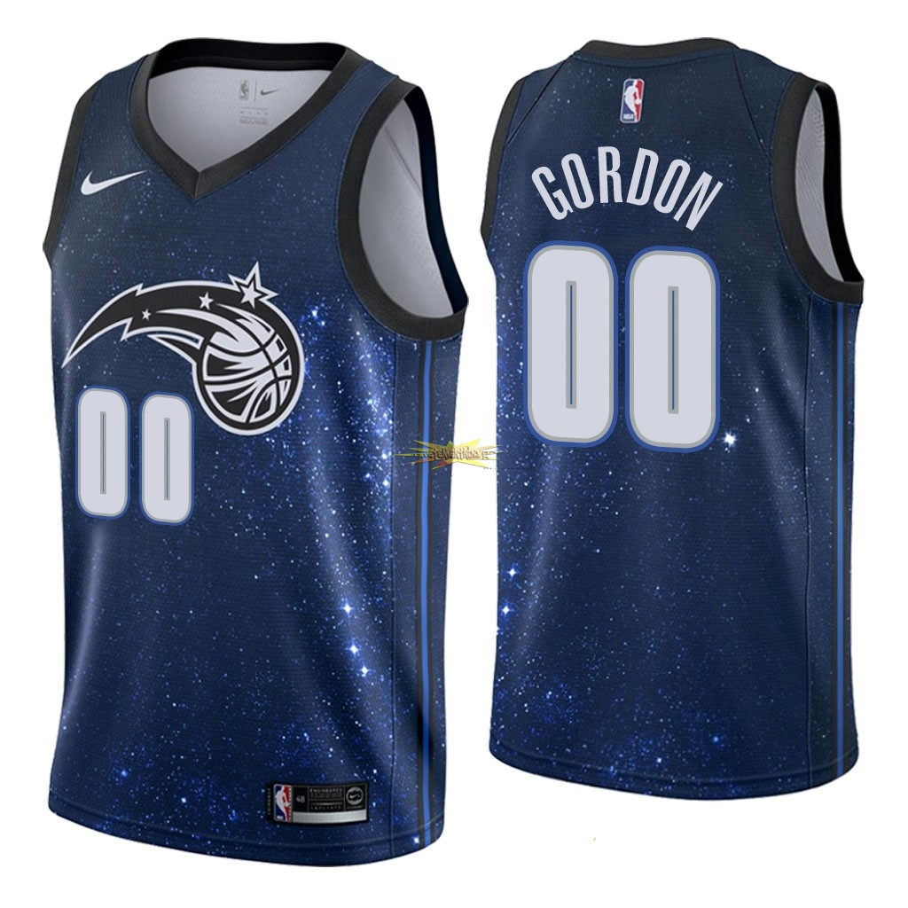 Nouveau Maillot NBA Nike Orlando Magic NO.0 Aaron Gordon Nike Marine Ville 2018