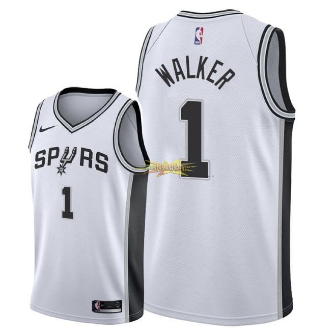 Nouveau Maillot NBA Nike San Antonio Spurs NO.1 Lonnie Walker Blanc Association 2018