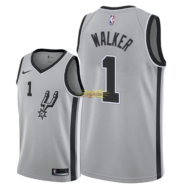 Nouveau Maillot NBA Nike San Antonio Spurs NO.1 Lonnie Walker Gris Statement 2018