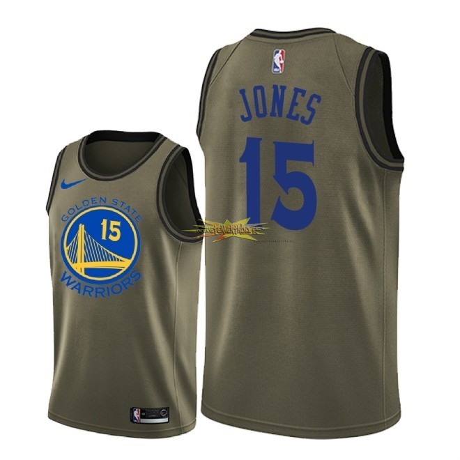 Nouveau Maillot NBA Service De Salut Golden State Warriors NO.15 Damian Jones Nike Armée verte 2018