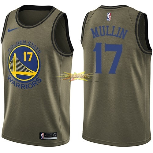 Nouveau Maillot NBA Service De Salut Golden State Warriors NO.17 Chris Mullin Nike Armée verte 2018