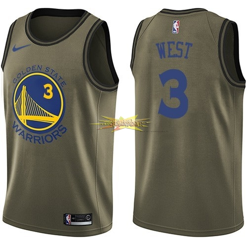 Nouveau Maillot NBA Service De Salut Golden State Warriors NO.3 David West Nike Armée verte 2018