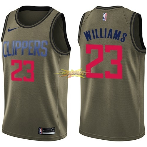 Nouveau Maillot NBA Service De Salut Los Angeles Clippers NO.23 Louis Williams Nike Armée verte 2018
