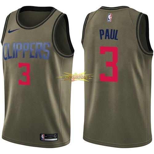 Nouveau Maillot NBA Service De Salut Los Angeles Clippers NO.3 Chris Paul Nike Armée verte 2018