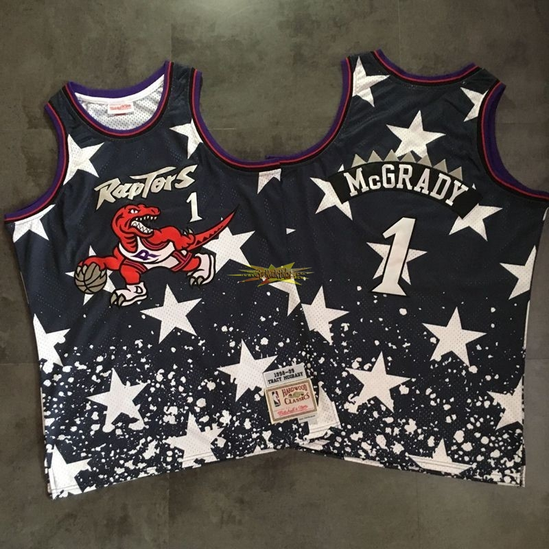 Nouveau Maillot NBA Toronto Raptors NO.1 Tracy McGrady Retro Noir AU