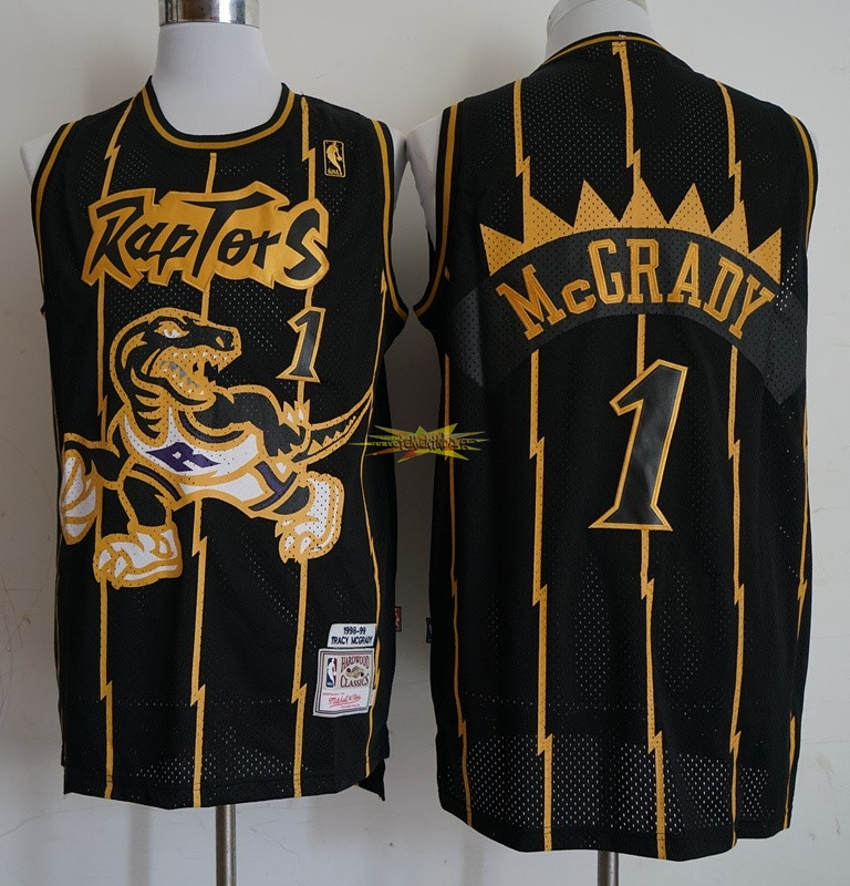 Nouveau Maillot NBA Toronto Raptors NO.1 Tracy McGrady Retro Or Noir 1998-99