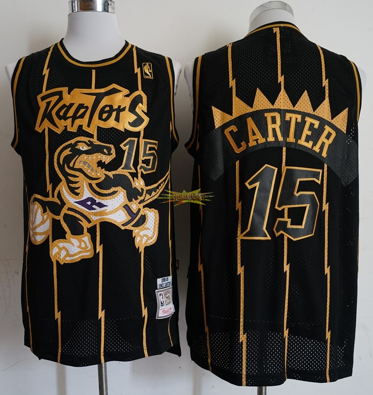 Nouveau Maillot NBA Toronto Raptors NO.15 Vince Carter Retro Or Noir 1998-99