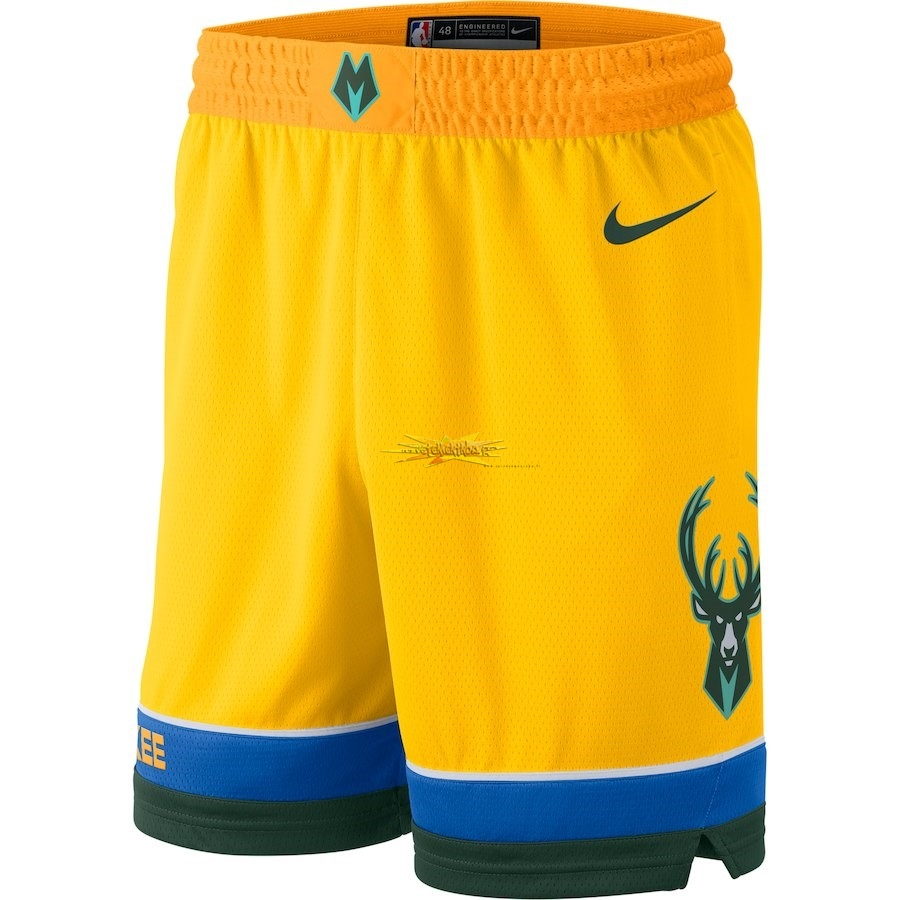 Nouveau Short Basket Milwaukee Bucks Nike Jaune Ville 2018-19