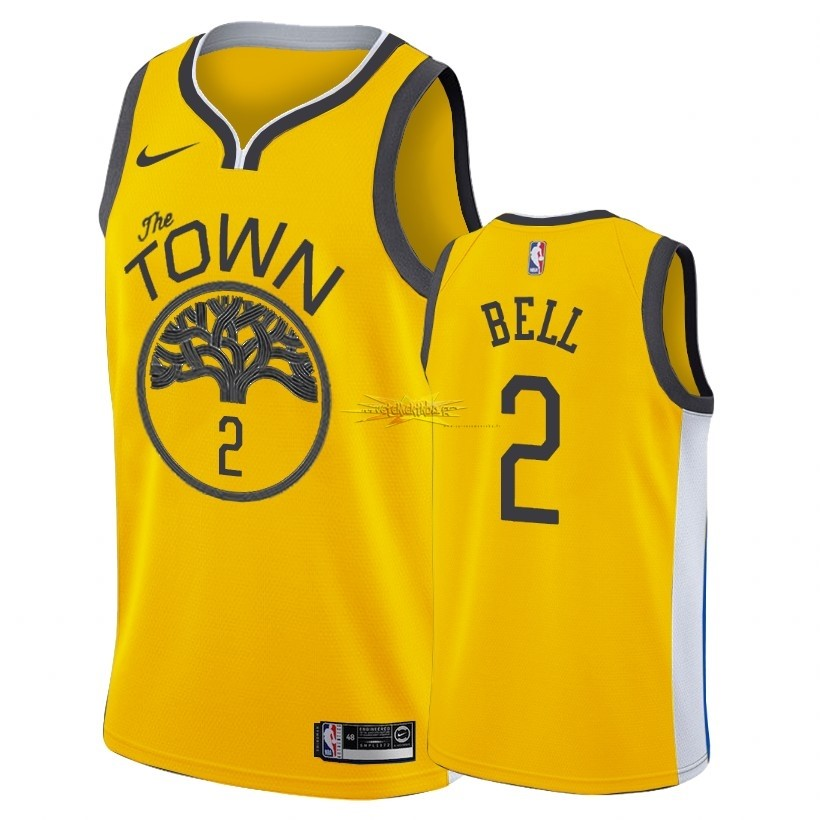 Nouveau Maillot Earned Edition Golden State Warriors NO.2 Jordan Bell Nike Oro 2018-19