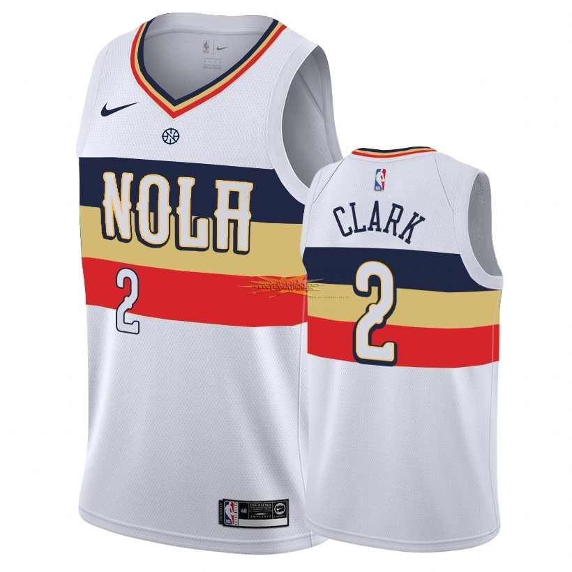 Nouveau Maillot Earned Edition New Orleans Pelicans NO.2 Ian Clark Blanc 2018-19