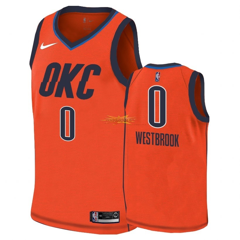 Nouveau Maillot Earned Edition Oklahoma City Thunder NO.0 Russell Westbrook Orange 2018-19