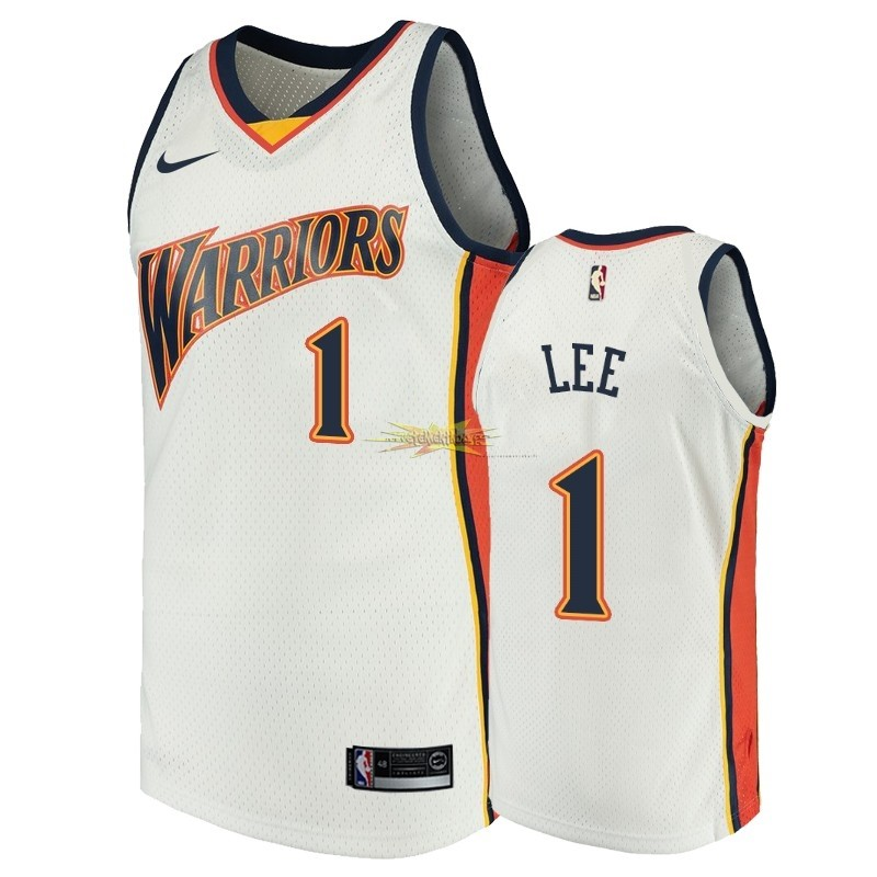 Nouveau Maillot NBA Golden State Warriors NO.1 Damion Lee Blanc Throwback