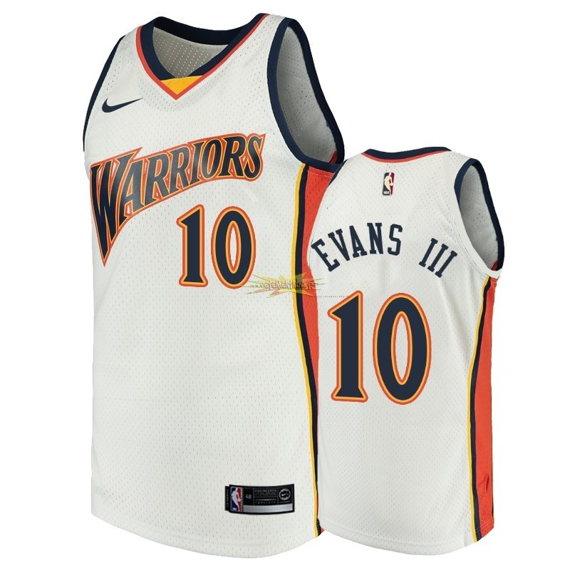 Nouveau Maillot NBA Golden State Warriors NO.10 Jacob Evans III Blanc Throwback